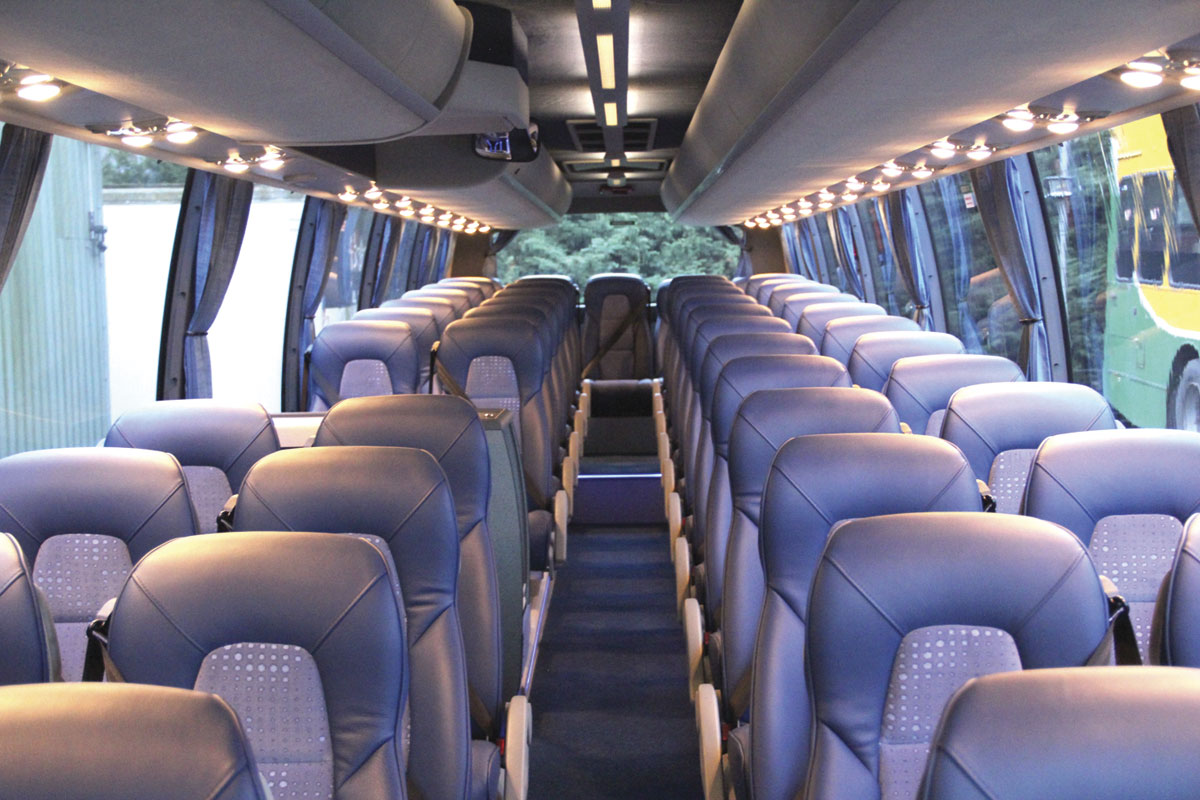 Volvo luxury bus interior - With The Lights On The Interior Demonstrates Its Colour Coordination And Luxurious Feel