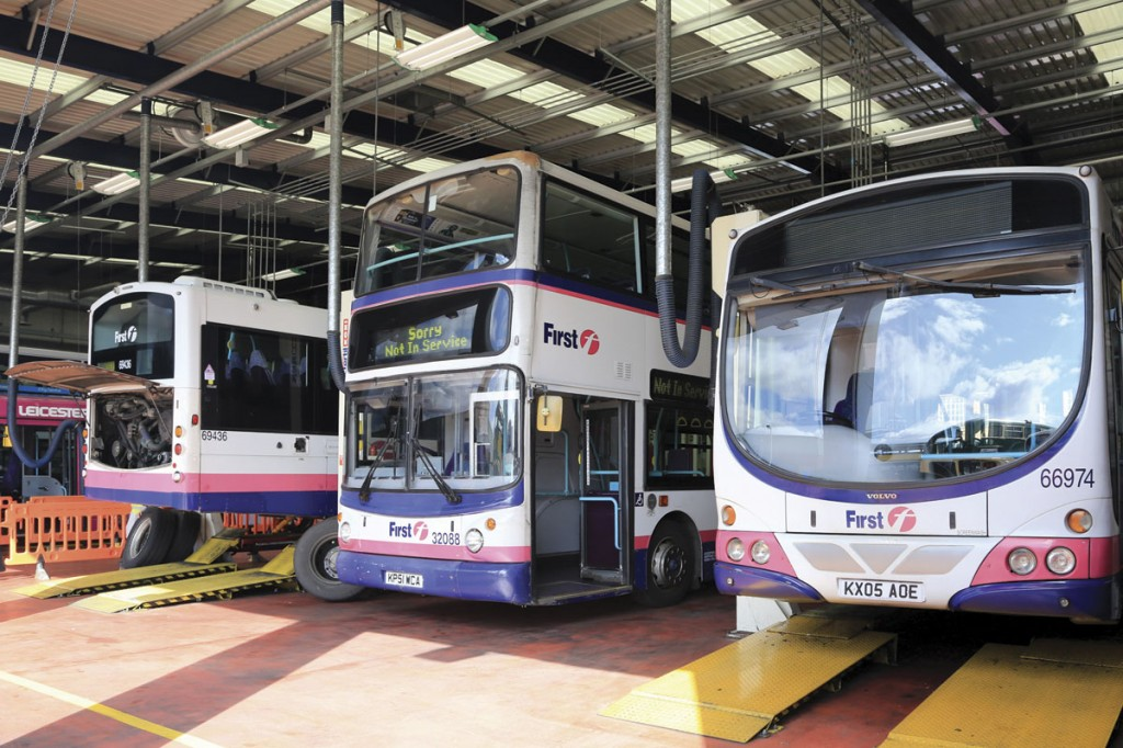 Inside First's Leicester depot with a selection of Volvo B7 based vehicles, the mainstay of the company's operations in the city for over ten years