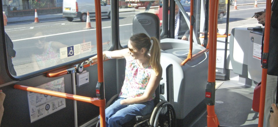 Once in position, Helen activates Quantum simply by pressing the large button in the wheelchair bay