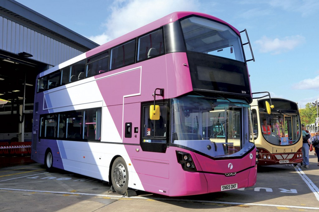 Pride of place outside the First Leicester depot was given to the first Wrightbus StreetDeck delivered for operation in the city