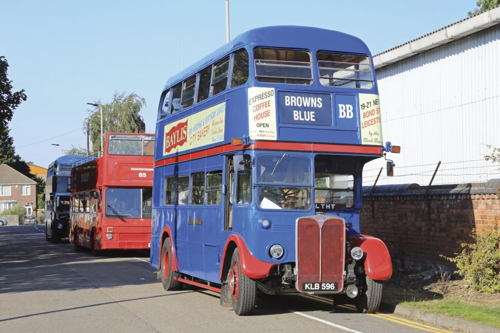 The non Leicester City Transport vehicles used on the heritage services, led by the Browns Blue liveried AEC RT