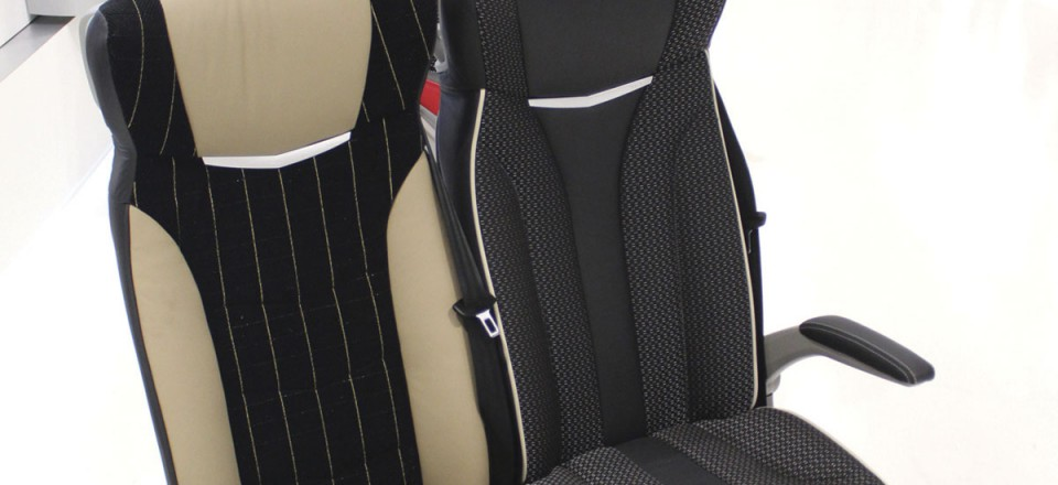 The new i8 seat in a choice of horizontal (left) or vertical (right) trim
