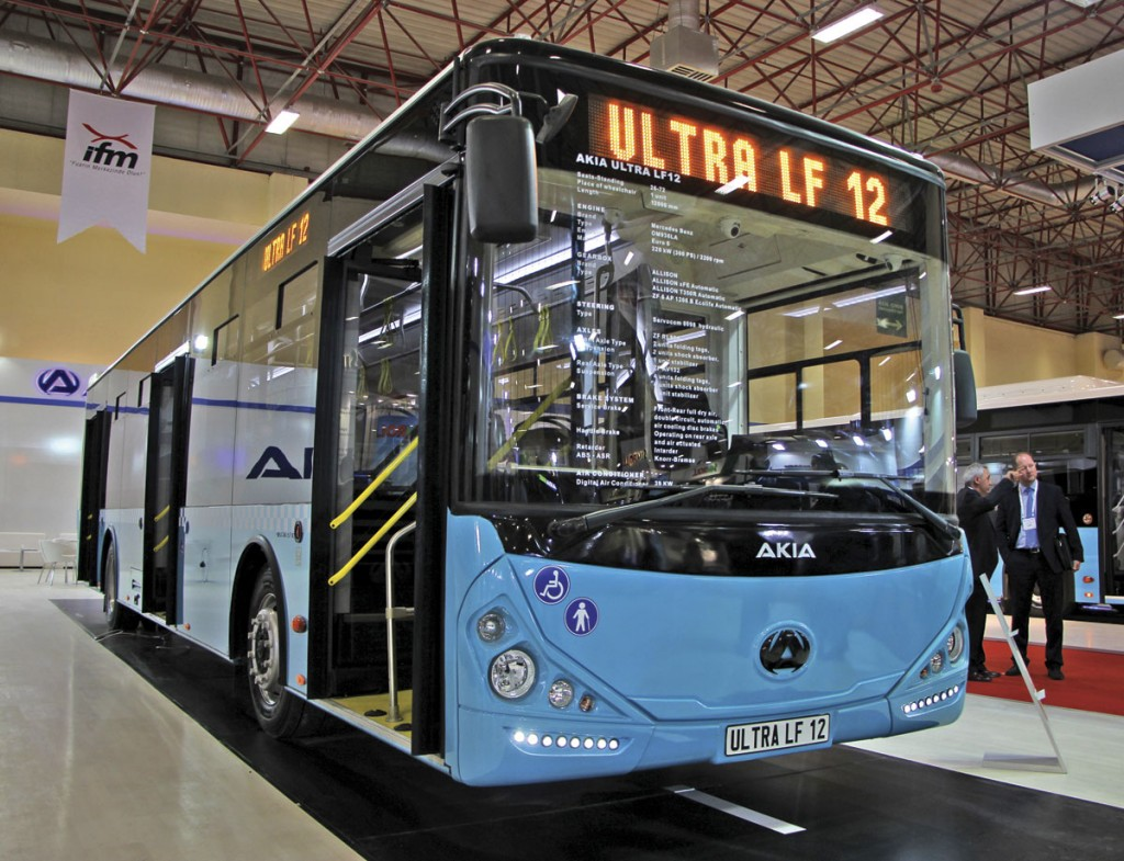 Powered by a Daimler OM936 engine is the Akia Ultra LF12 city bus