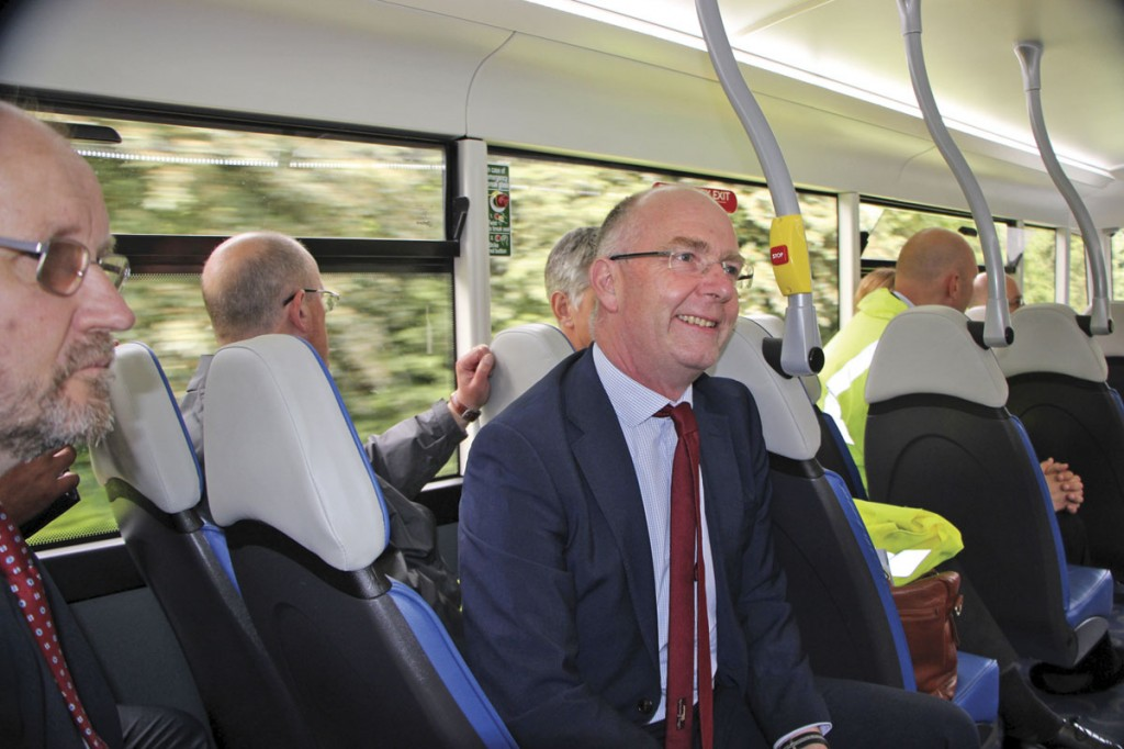 First's Engineering Director, Mark Munday, joins the press on the upper deck of the Metrodecker