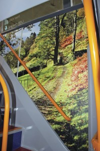 Each staircase in the Lakes Connection buses has a different mural