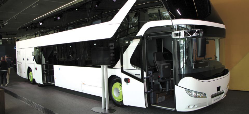 Neoplan Skyliner featuring twin wheelchair capacity with six demountable lower deck seats