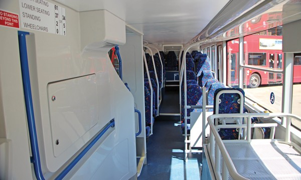 The lower deck of the Enterprise for Aintree Coach Lines.