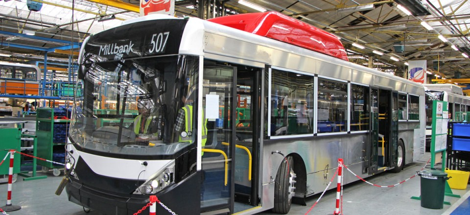 The new buses have bodies based on that of the Enviro200 MMC and all were built at the Falkirk plant in Scotland on a line created specially for them - 2