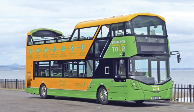 On the Volvo stand at Euro Bus Expo, the final vehicle from Lothian's order for 30 open top B5TLs with Wrightbus bodywork will be unveiled