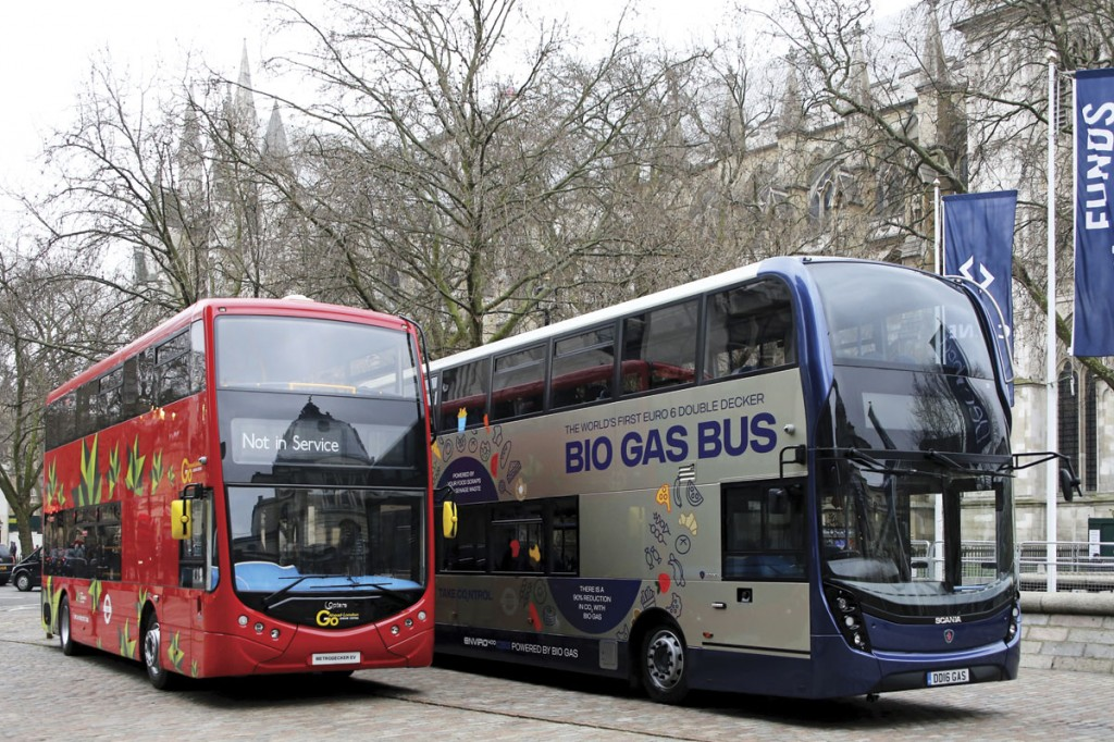 Optare's Metrodecker EV and Scania's biomethane powered double-decker with ADL Enviro400 MMC body