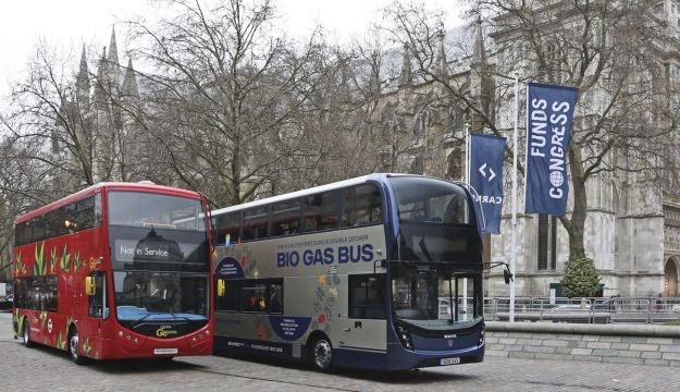 Outside Westminster Abbey were Optare's Metrodecker EV and Scania's biomethane powered double-decker with ADL Enviro400 MMC body