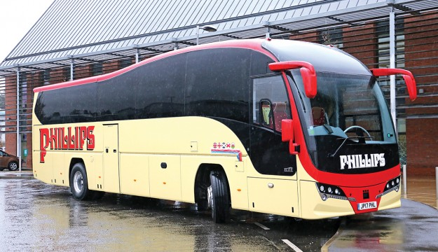 Pictured before the launch with the name yet to be unveiled is Phillip's 12.6m Plaxton Elite Volvo B11R.