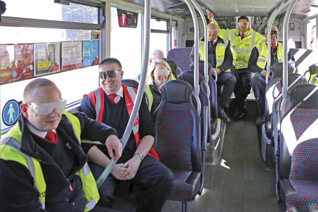 Some of the National Express Bus participants wearing the variety of sim specs that were available for the event