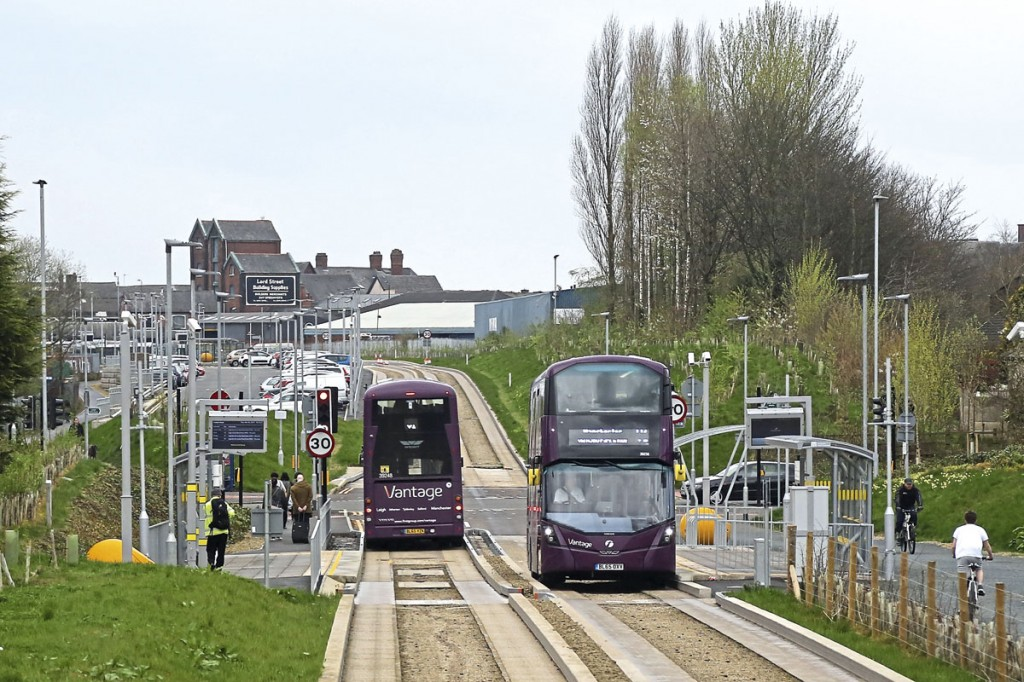 TfGM's Vantage Busway with guided Volvo B5LH hybrid buses