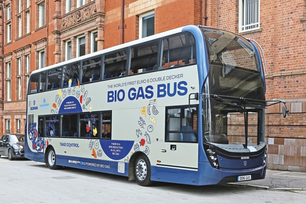 The Scania ADL biomethane double-decker outside the venue