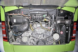 The 10.7-litre OM470 engine installed in the UK specification 12.3m Tourismo launch coach