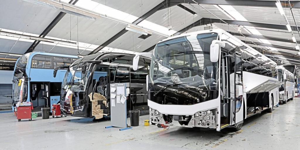Along the coach production line