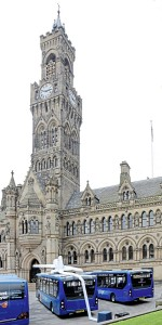 Bradford's iconic Town Hall formed the backdrop to the launch of the new ADL Enviro200 MMCs