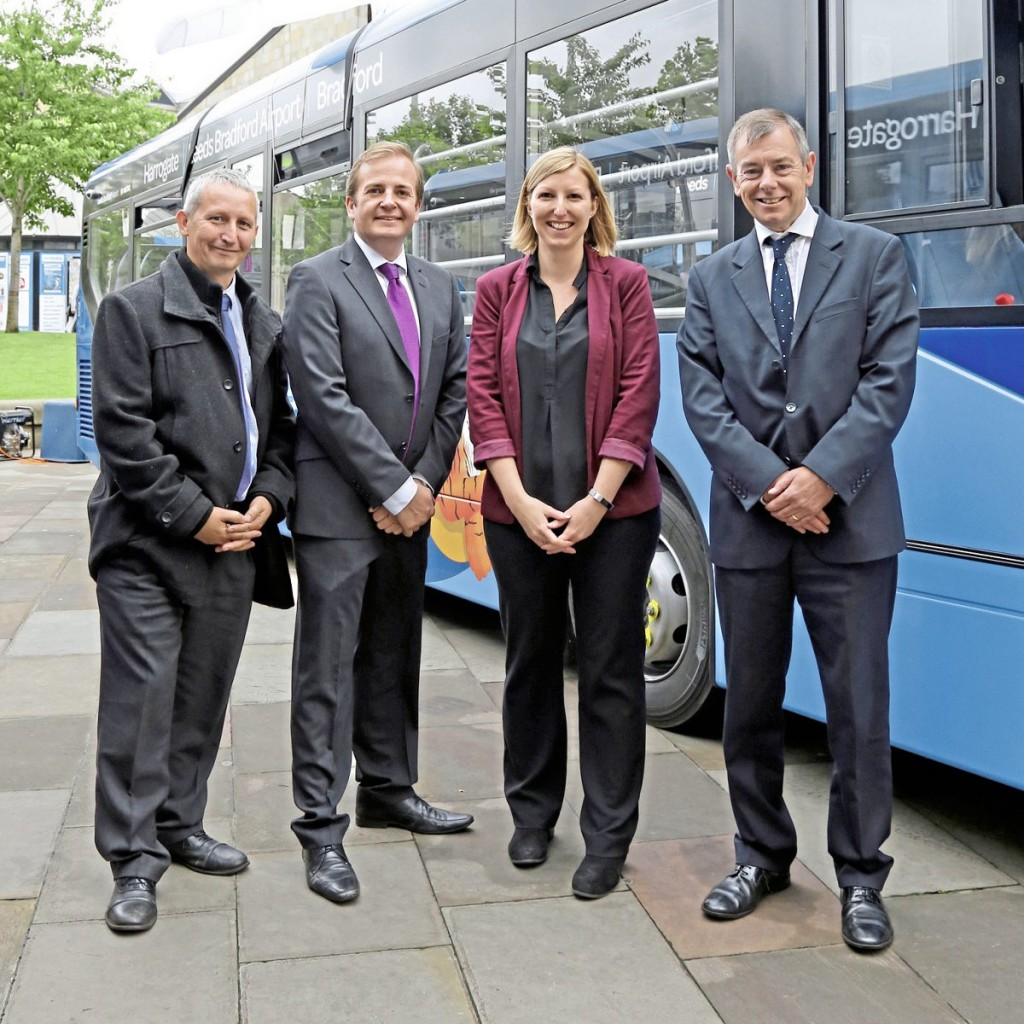 Leeds Bradford Airport PR and Public Relations Manager, Kayley Worsley 2nd right with the Yorkshire Tiger management team LtoR-Tony Lowe, Simon Finnie and Bob Mason