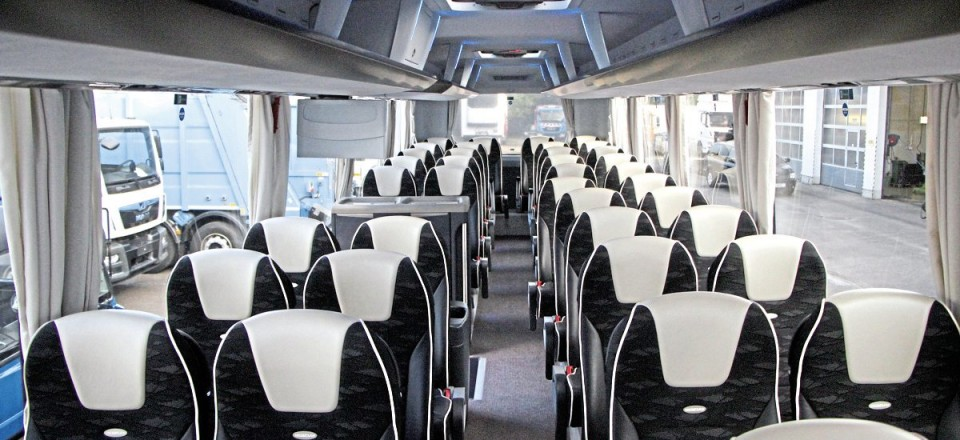 The interior of the new two-axle Neoplan Tourliner we travelled on