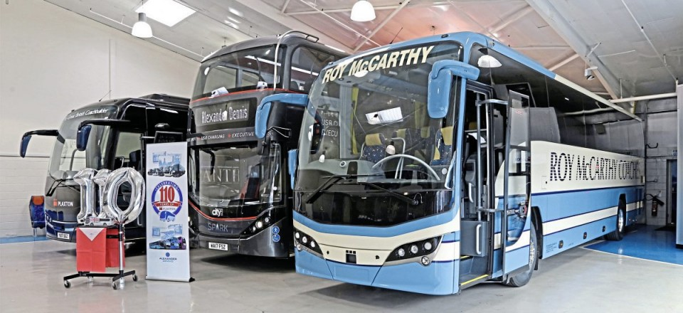 The showroom at Scarborough with two Panthers and an Enviro400 City