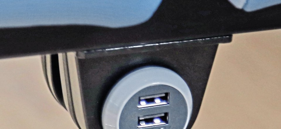 USB charging points are provided below each seat pair