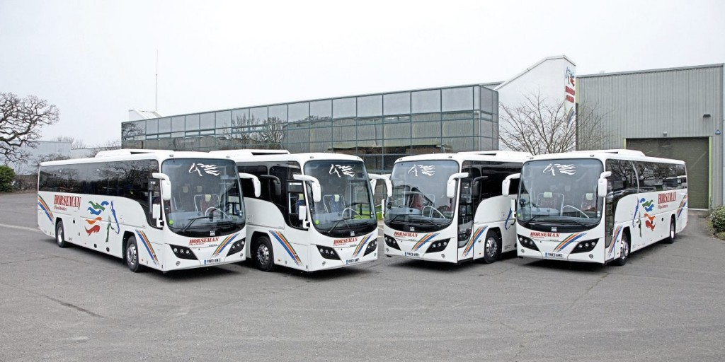 The four 2013 Plaxton Panthers were handed over during a mid-March snow flurry