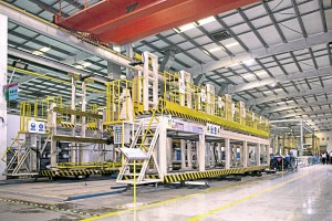 The jig in the prototype bus plant where the six separate main sections are brought together