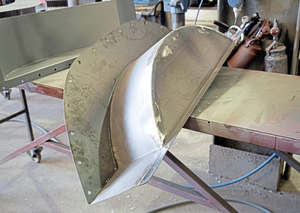New wheelarches are, like many EVM parts, supplied as cut steel sheet but fabricated in house