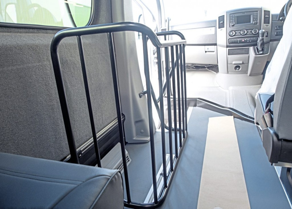 The sub-3.5t vehicles have this luggage cage installed for school bags