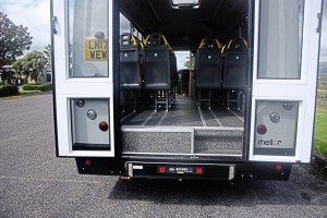 An underfloor-mounted cassette wheelchair lift is fitted.