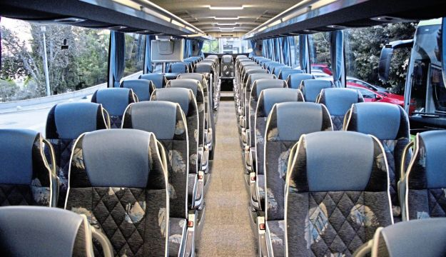 Although the test coach had only 57 seats, up to 63 is possible in the Tourismo L