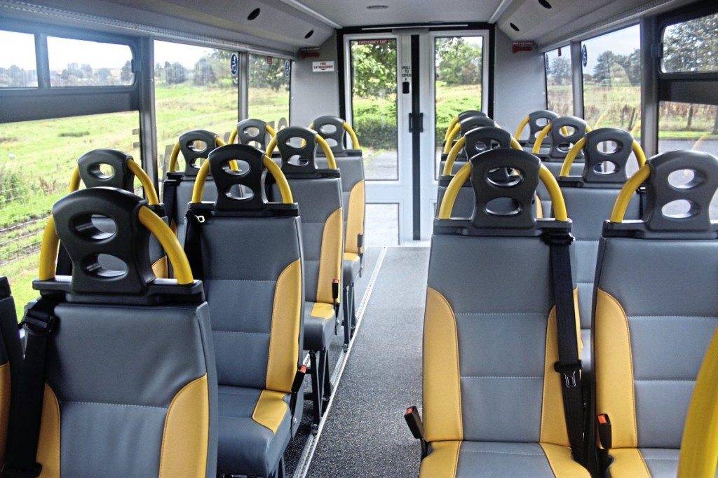 The clean, airy interior. Note the 2+2 seating using 450mm wide seats. The vehicle can be seated at up to 22 or alternatively carry seven wheelchairs