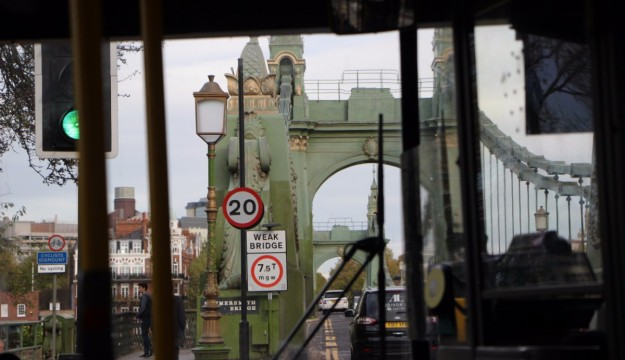 The view from the bus as we approached Hammersmith Bridge. Only one bus at a time is allowed on to it, with a staffed barrier in place to ensure this is not flouted