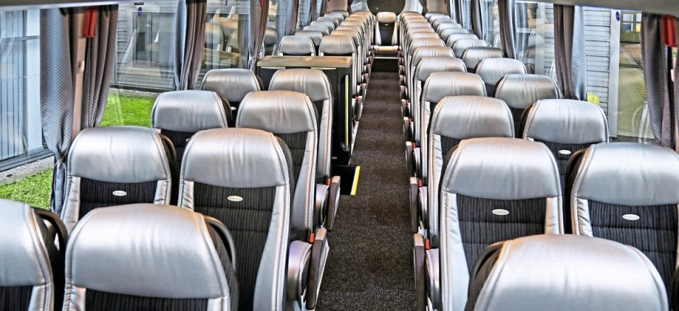 Silver Ultrafabrics trimmed headrests and side flaps add to the lighter appearance of the new Tourliner's interior