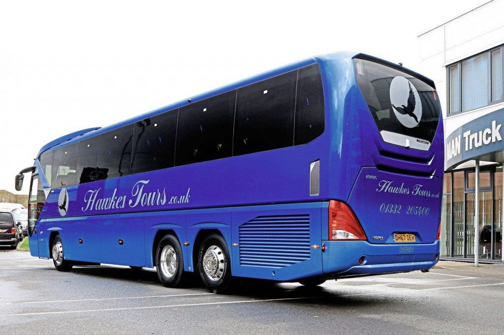 The rear of the new Tourliner builds on style elements from the Starliner