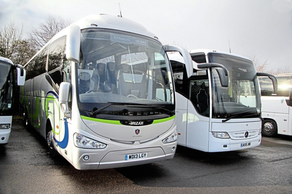 This Euro V Scania K400 Irizar i6 is the newest used coach in stock, dating from 2013. The company has yet to have a stock Euro VI coach to sell. The Tourismo next to it has already been sold