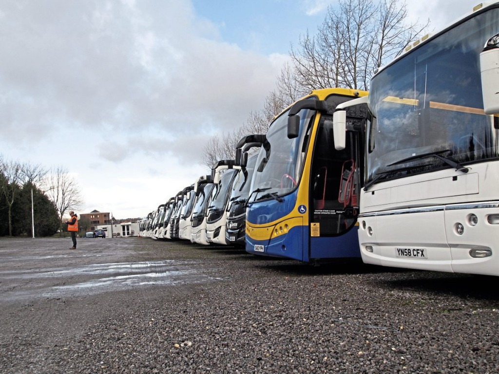 Plaxton's yard is currently densely populated with used vehicles, which the team attributes to successful numbers of new sales bringing in extra part exchange coaches
