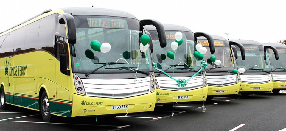 The launch fleet of five Volvo B9R Caetano coaches, four of which are brand new.