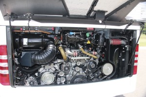 The 10.7-litre six-cylinder in-line OM470 engine installed at the rear of a UK Tourismo. With the engine cover closed, there are two completely separate sections in the engine bay helping to control the air flow and reduce both noise and heat.