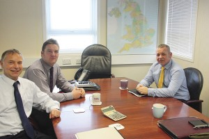 Key members of the customer facing team. Neil Donald (left) who runs London Hire Community Services, Peter Moxom, Sales and Marketing Manager (right) and Peter's assistant, John Shiel