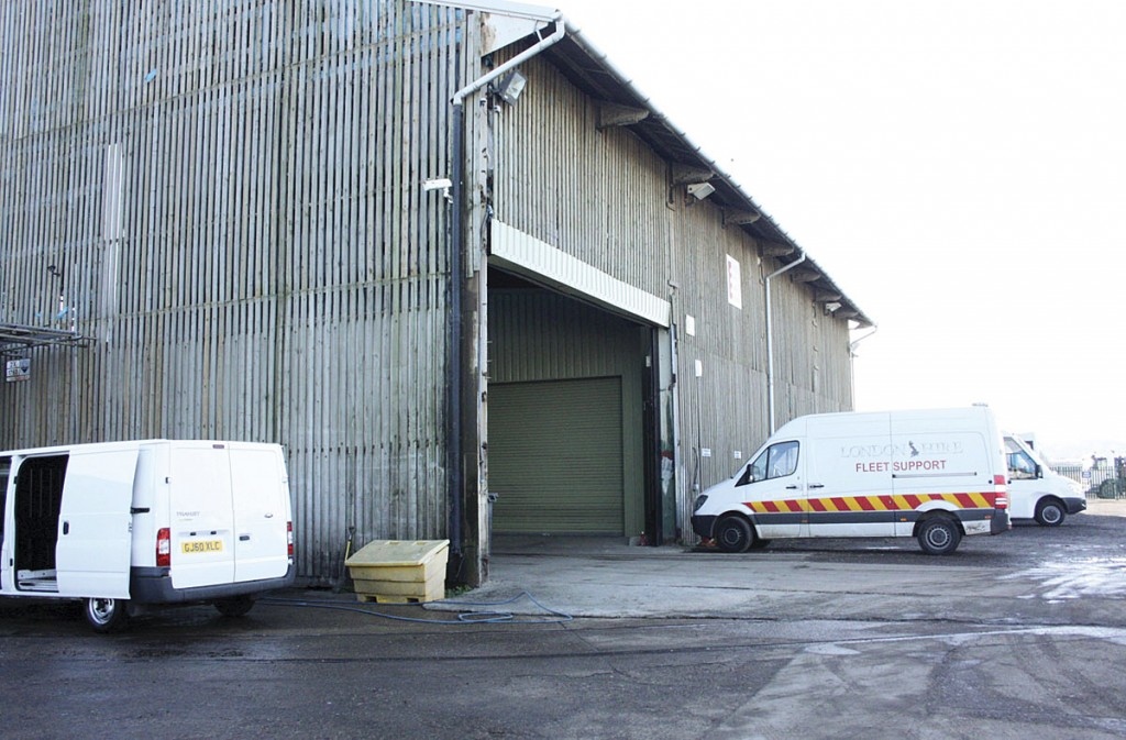 The vast former timber storage shed inside which the maintenance facility is housed