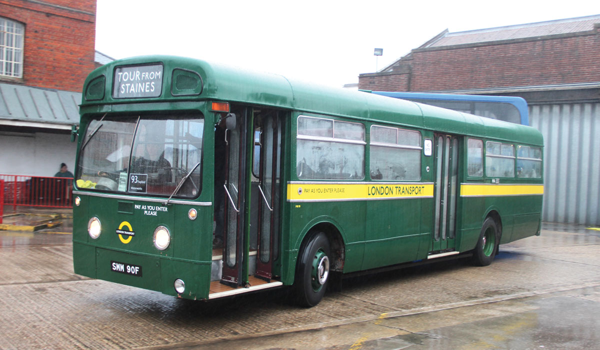 Dual door MCW bodywork on a former London Transport Country Area AEC Merlin 3P2R of 1968