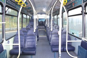 The interior of the new Wrightbus VDL vehicles features E-Leather seating and LED lighting