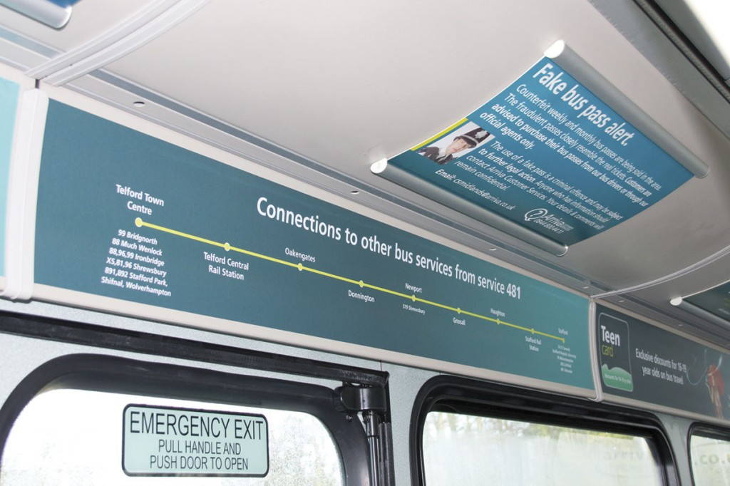 Dedicated interior signage for the 481 includes route diagrams showing connecting services on the Arriva network