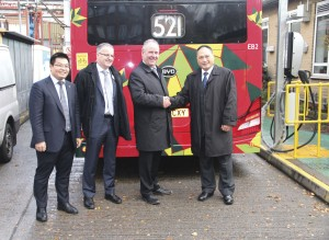 Bono Ge, BYD; Mike Weston, TfL; Phil Margrave, Go-Ahead; and Isbrand Ho, BYD