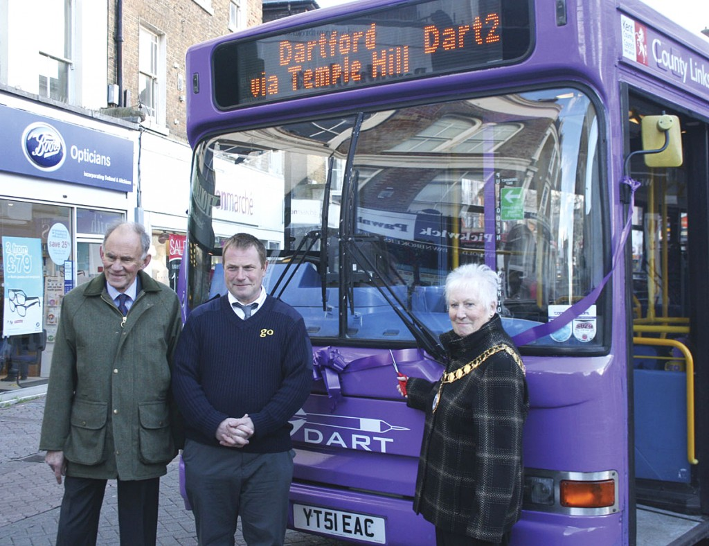(LtoR) Cabinet Member for Transport and Environment at Kent County Council, David Brazier; Austin Blackburn and Mayor of Dartford, Patsy Thurlow