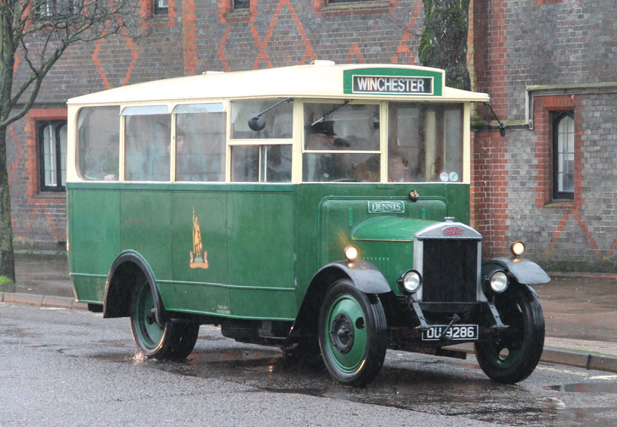 Undeterred by the rain, the 1931 Dennis 30cwt returns to the Broadway