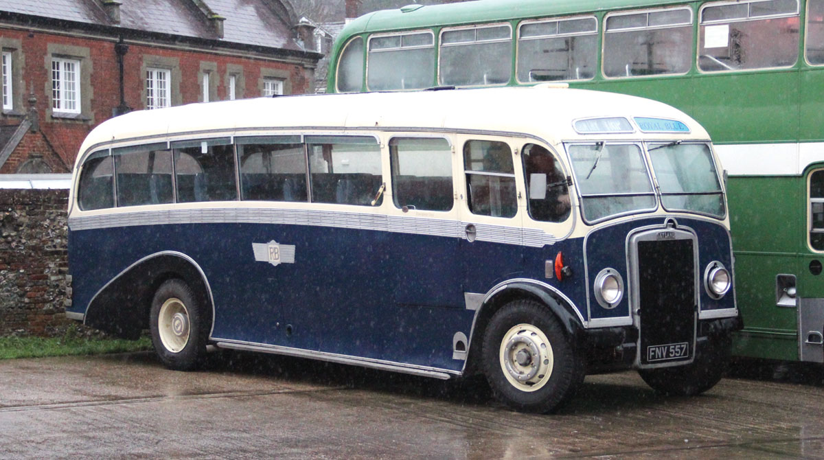 Roger Burdett's Leyland PS2 Windover was prevented from operating because the windscreen wiper motor succumbed to the unremitting deluge