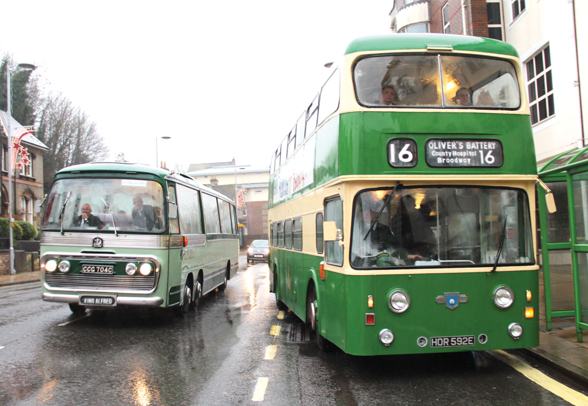 The 1965 Bedford VAL passes an Atlantean which has just changed from a 13 to a 16